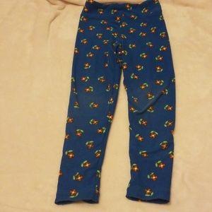 Girl's Lularoe Leggings blue flower size S/M
